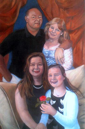 Portrait Painting Of Family Group - Colette Simeons - Portrait Artist - Surrey Art Gallery