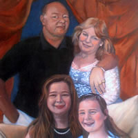 Portrait Painting Of Family Group – Colette Simeons – Portrait Artist – Surrey Art Gallery