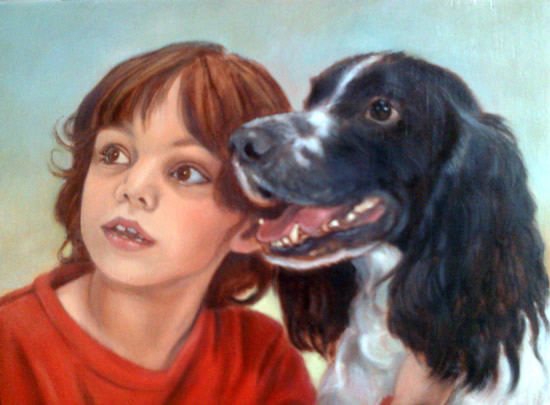 Portrait Painting of Child & Border Collie Dog - Colette Simeons - Portrait Artist - Surrey Art Gallery