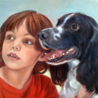 Portrait Painting of Child & Border Collie Dog – Colette Simeons – Portrait Artist – Surrey Art Gallery
