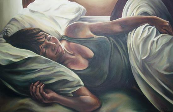 Portrait Painting of Woman - Stephanie - Surrey Art Gallery - Maureen Domoney - Cranleigh Artist