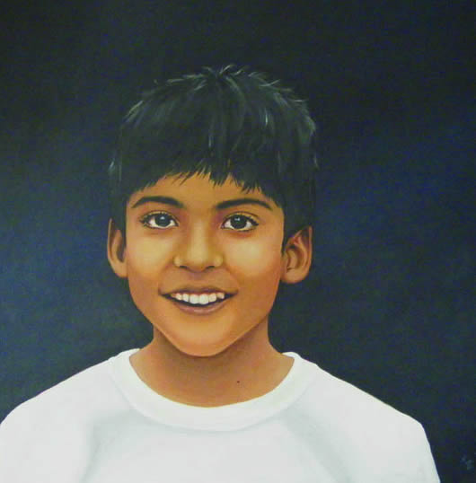 Portraits - Child Portrait Painting Commissions - Rahul & Rohit - 2 - Kerry Regan - Artist Painting in Acrylic and Other Media - Surrey Art Gallery