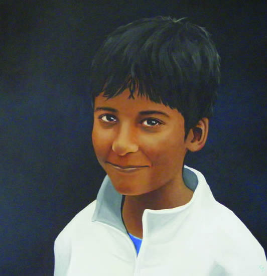 Portraits - Child Portrait Painting Commissions - Rahul & Rohit - Kerry Regan - Artist Painting in Acrylic and Other Media - Surrey Art Gallery