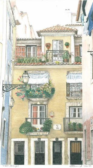 Portugal - Lisbon - Award-Winning Surrey Artist - Linda Brand UKCPS - Gallery - Pencil Artist