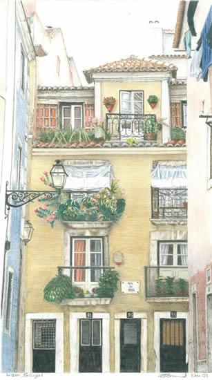 Portugal - Lisbon - Award-Winning Surrey Artist - Linda Brand UKCPS - Gallery - Pencil Artist