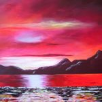 Red Reflections – Sky Sea and Mountains – Surrey Artist – Michael Palmer + Paintings in Acrylics & Mixed Media – Surrey Art Gallery