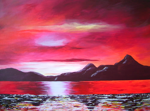 Red Reflections - Sky Sea and Mountains - Surrey Artist - Michael Palmer + Paintings in Acrylics & Mixed Media - Surrey Art Gallery