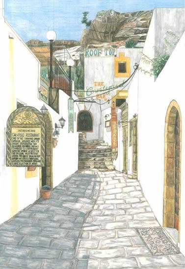 Rhodes - Lindos - Surrey Artist - Linda Brand UKCPS - Gallery - Pencil Artist