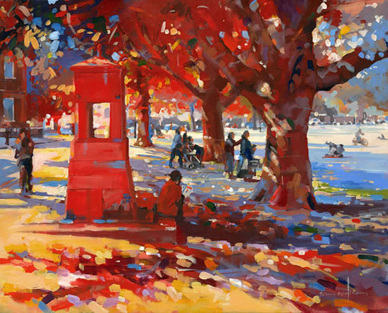 Richmond Green - John Walsom - Contemporary and Architectural Artist - Buildings and Interiors in Oils and Watercolours - Surrey Art Gallery