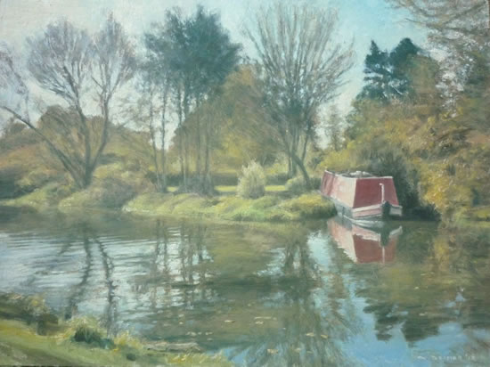 River Wey at Papercourt, Send - David Deamer - Artist in Oils and Pencil Portraits - Surrey Art Gallery - Pirbright Art Club - Woking Society of Arts