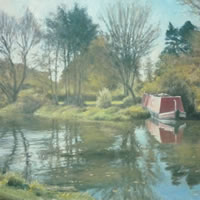 River Wey at Papercourt, Send – David Deamer – Artist in Oils and Pencil Portraits – Surrey Art Gallery – Pirbright Art Club – Woking Society of Arts