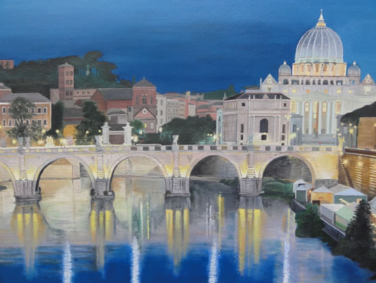 Rome - Bridge of Angels - Daniele Mandelli - Painter of Oils - Merton Art Society - Surrey Art Gallery