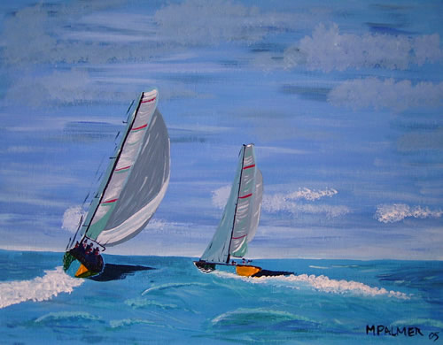 Sailing Boats - The Race - Surrey Artist - Michael Palmer - Gallery - Paintings in Acrylics & Mixed Media