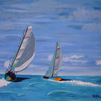 Sailing Boats – The Race – Surrey Artist – Michael Palmer – Gallery – Paintings in Acrylics & Mixed Media
