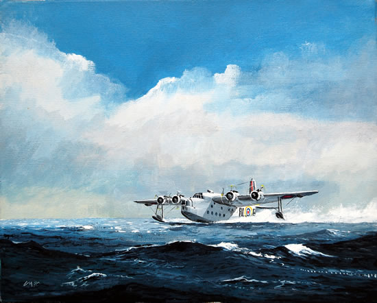 Short Sunderland Flying Boat - Doug Myers - Portrait and Fine Artist - Chertsey Artists - Surrey Art Gallery