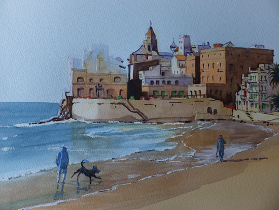Sitges Beach near Barcelona - Woking Society of Arts - David Harmer - Surrey Artist