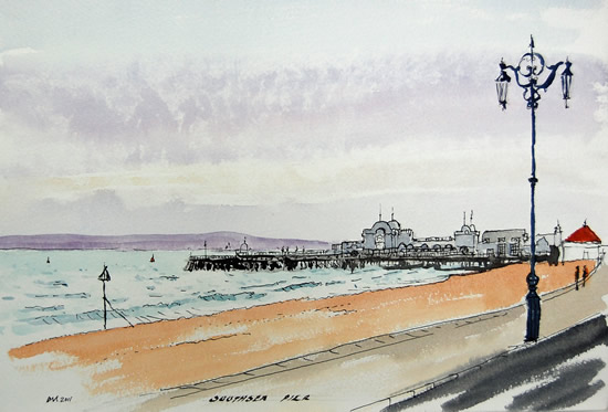 Southsea Pier - Hampshire - Doug Myers - Portrait and Fine Artist - Chertsey Artists - Surrey Art Gallery