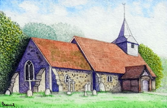 St Nicholas Church Pyrford - Surrey Art Gallery - Artist John Bunce - Guildford Art Society