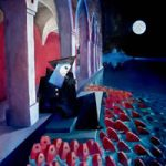 Stained Glass Artist – Designer & Manufacturer – Also Painter – Venetian Feeding Carp – Surrey Artist Sherif Amin