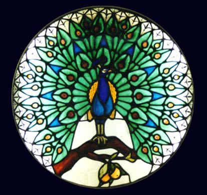 Stained Glass - Peacock - Surrey Artist Sherif Amin - Stained Glass Designer and Manufacturer and Painter