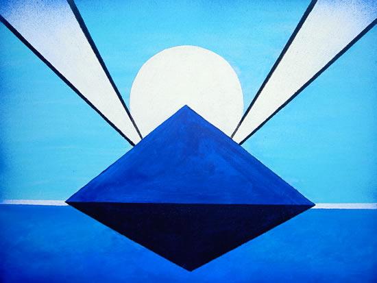 Stargate Moon Rising - Peter Camden-Woodley - Contemporary Weybridge Artist - Acrylics and Metal Sculpture - Surrey Art Gallery