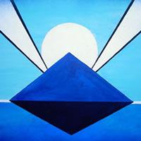 Stargate Moon Rising – Peter Camden-Woodley – Contemporary Weybridge Artist – Acrylics and Metal Sculpture – Surrey Art Gallery