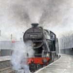 Steam Train 48431 Stanier 8F – Surrey Art Gallery – Artist John Healey – Byfleet Art Group
