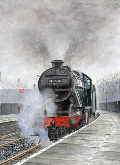 Steam Train 48431 Stanier 8F - Surrey Art Gallery - Artist John Healey - Byfleet Art Group