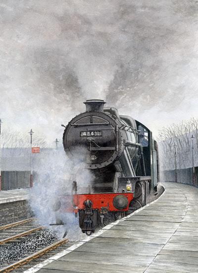 Steam Train 48431 Stanier 8F - Surrey Art Gallery - Artist John Healey - Byfleet Art Group