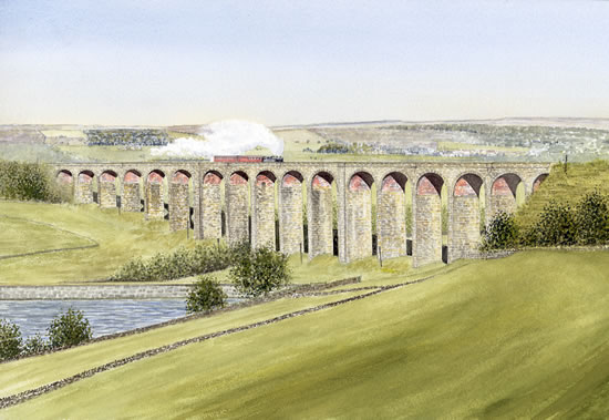 Steam Train Crossing Hewenden Viaduct Bradford - Yorkshire Art Gallery - Artist John Healey - Woking Society of Arts