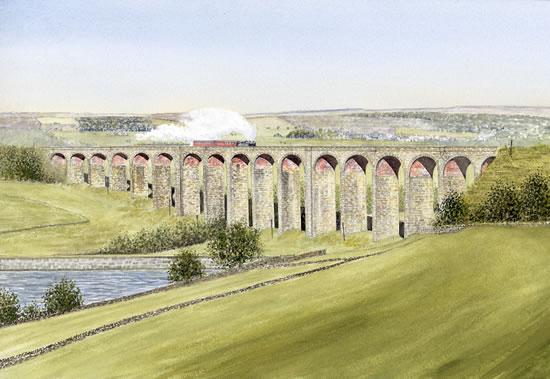 Steam Train Crossing Hewenden Viaduct Bradford - Yorkshire Art Gallery - Artist John Healey - Woking Society of Arts