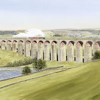 Steam Train Crossing Hewenden Viaduct Bradford – Yorkshire Art Gallery – Artist John Healey – Woking Society of Arts