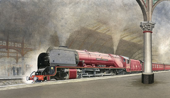 Steam Train - Duchess of Sutherland - Surrey Art Gallery - Artist John Healey - Woking Society of Arts