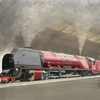 Steam Train – Duchess of Sutherland – Surrey Art Gallery – Artist John Healey – Woking Society of Arts
