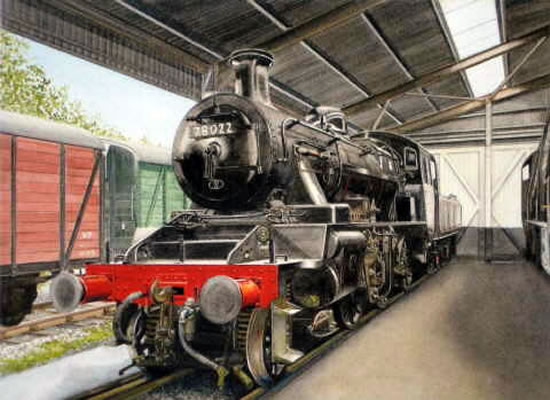 Steam Train In The Shed At Haworth Bradford - Yorkshire Art Gallery - Artist John Healey - Byfleet Art Group