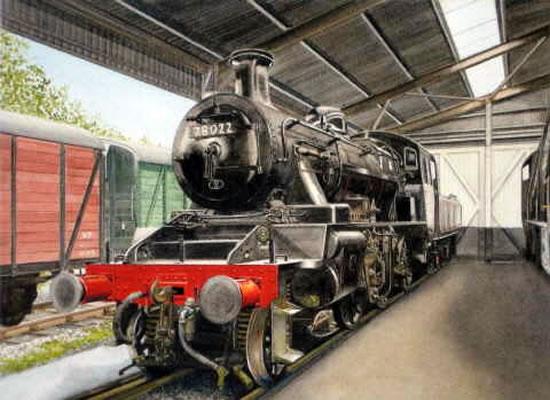 Steam Train In The Shed At Haworth Bradford - Yorkshire Art Gallery - Artist John Healey - Byfleet Art Group