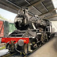 Steam Train In The Shed At Haworth Bradford – Yorkshire Art Gallery – Artist John Healey – Byfleet Art Group