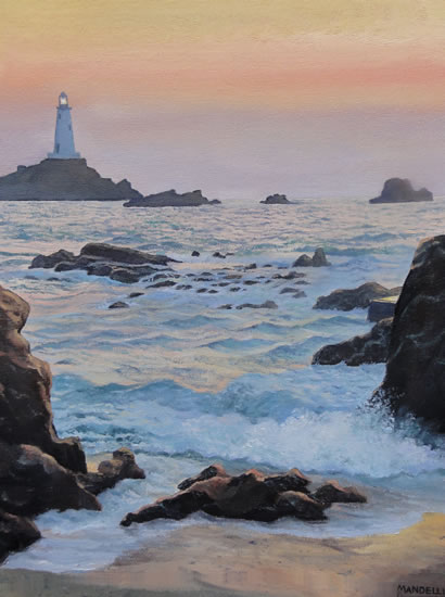 Sunset Tide - La Corbiere, Jersey - Daniele Mandelli - Painter of Oils - Frimley and Camberley Society of Arts - Surrey Art Gallery