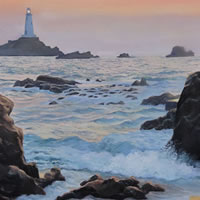 Sunset Tide – La Corbiere, Jersey – Daniele Mandelli – Painter of Oils – Frimley and Camberley Society of Arts – Surrey Art Gallery