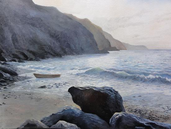 Sussex Coast - Journey's End - Daniele Mandelli - Painter of Oils - Surbiton Arts Group - Surrey Art Gallery