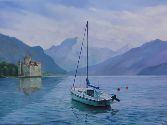 Switzerland - Moods of Montreux - A New Day - Daniele Mandelli - Painter of Oils - Molesey Art Society - Surrey Art Gallery