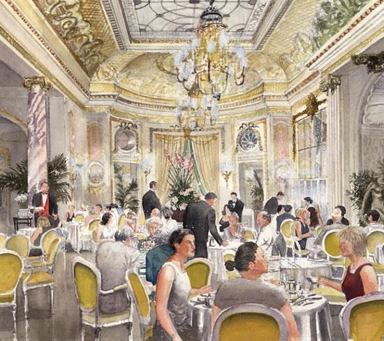 Tea at the Ritz Hotel - London Art Gallery - Artist John Healey - Byfleet Art Group