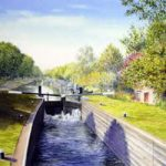 Thames Lock Weybridge – Wey Navigation Canal – Surrey Art Gallery – Artist John Healey – Byfleet Art Group