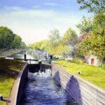Thames Lock Weybridge – Wey Navigation Canal – Surrey Art Gallery – Artist John Healey – Byfleet Art Group