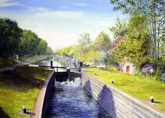 Thames Lock Weybridge - Wey Navigation Canal - Surrey Art Gallery - Artist John Healey - Byfleet Art Group