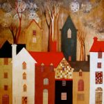 Time Clock Houses – Surrey Artist – Sunita Khedekar – Contemporary Landscapes, Abstract Art and Indian Mythological and Traditional Paintings