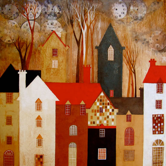 Time Clock Houses - Surrey Artist - Sunita Khedekar - Contemporary Landscapes, Abstract Art and Indian Mythological and Traditional Paintings