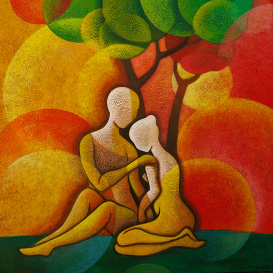 To Love & To Be Loved - Surrey Artist - Sunita Khedekar - Contemporary Landscapes, Abstract Art and Indian Mythological and Traditional Paintings
