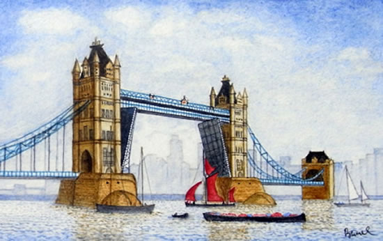 Tower Bridge with Thames Barge - London Art Gallery - Surrey Artist John Bunce - Woking Society of Arts