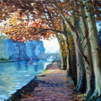 Tree-Lined Wey Navigation Canal – Surrey – Doug Myers – Surrey Artist
